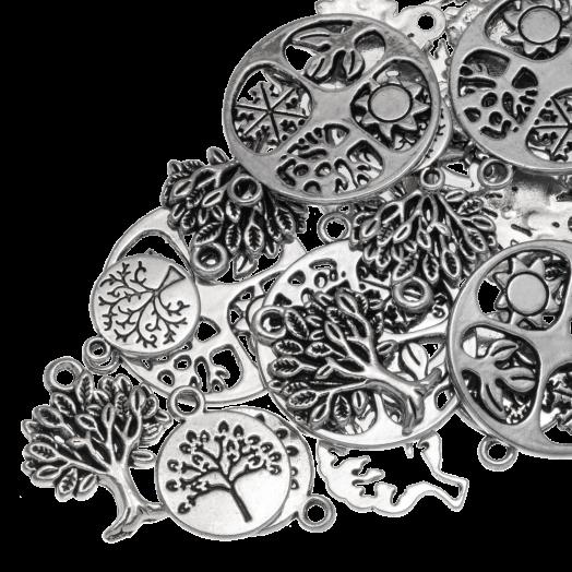 Voordeelpakket - Bedelmix Boom (diverse maten) Antiek Zilver (30 Stuks)
