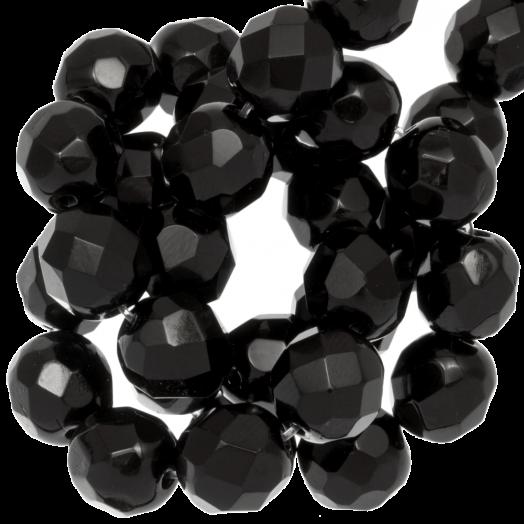 DQ Facetkralen Rond (Black) 8 mm (50 Stuks)