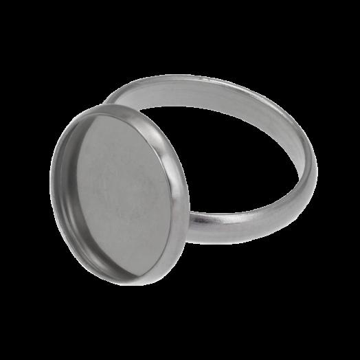 Stainless Steel Ring (Voor 14 mm Cabochon) Antiek Zilver (5 Stuks)