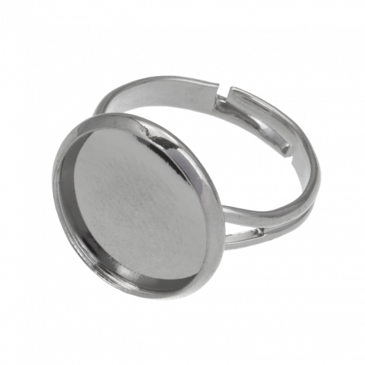 Verstelbare Ring (Voor 14 mm Cabochon) Antiek Zilver (10 Stuks)