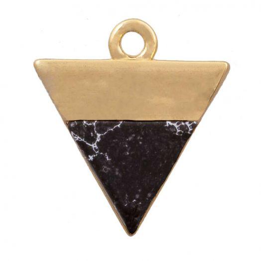 Bedel Natuursteen (13 x 12 mm) Verguld Goud (1 Stuk)