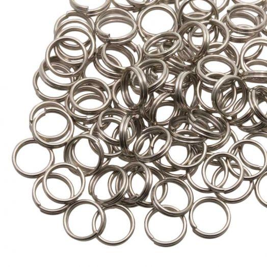 Stainless Steel Splitringen (7 x 0.6 mm) Antiek Zilver (100 Stuks)