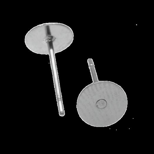 Stainless Steel Oorstekers tray 5 mm x 0.6 mm (Antiek Zilver) 20 Stuks