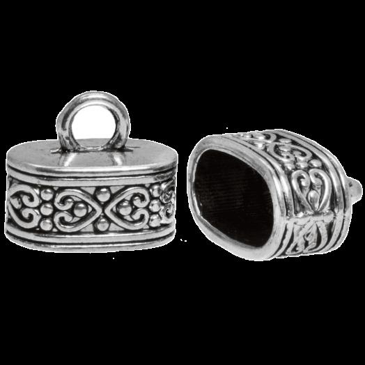 Eindkapje (Binnenmaat 13 x 7 mm) Antiek Zilver (5 Stuks)
