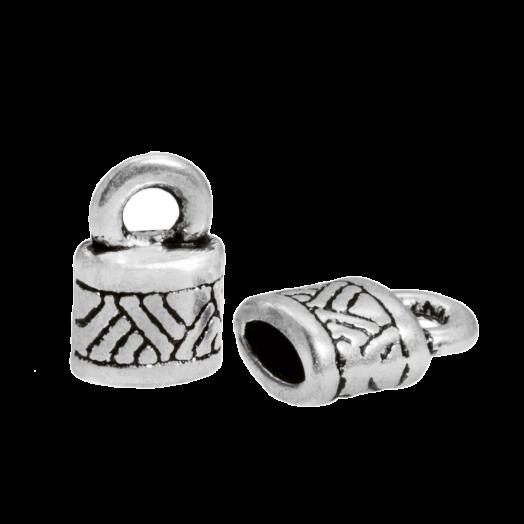 Eindkapje (Binnenmaat 4 x 2 mm) Antiek Zilver (10 Stuks)