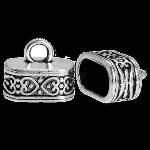 Eindkapje (Binnenmaat 12 x 7 mm) Antiek Zilver (10 Stuks)