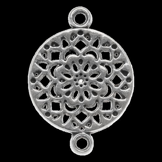 Tussenstuk 2 Ogen (20 x 14 mm) Antiek Zilver (25 Stuks)