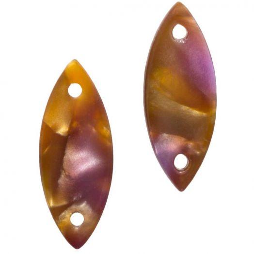 Tussenstuk Resin 2 Ogen (16 x 6 mm) Peru (10 Stuks)