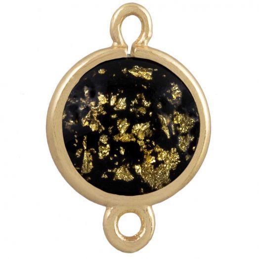 Tussenstuk 2 Ogen (18 x 12 mm)  Black Gold (5 Stuks)