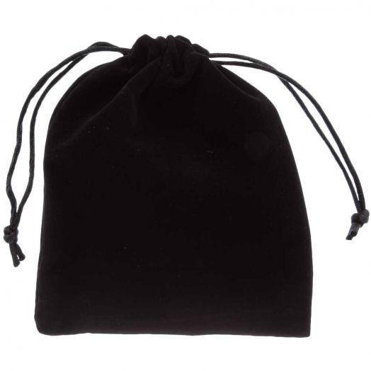 Velours Sieraden Zakjes (15 x 12 cm) Black (5 Stuks)