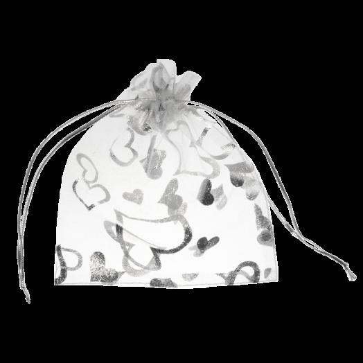 Organza Zakjes (10 x 13 cm) White & Silver (25 Stuks)