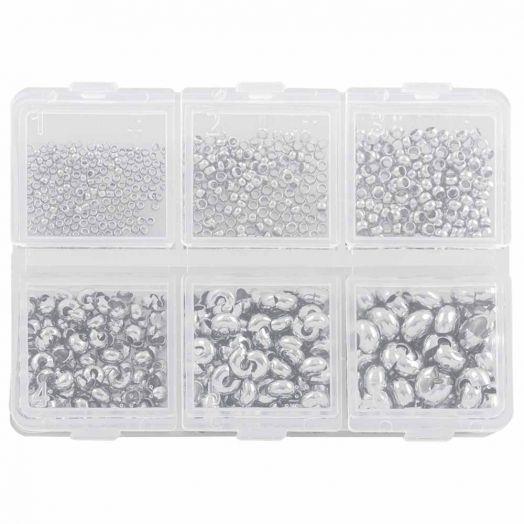 Voordeelpakket - Knijpkralen en Verbergers (0.8 mm / 1 / 2 mm) Antiek Zilver