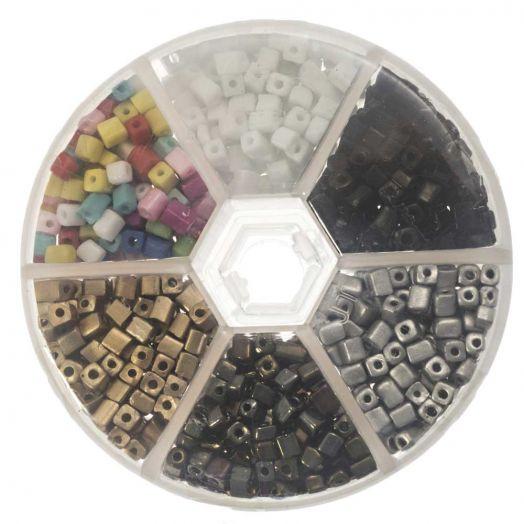 Voordeelpakket - Cube glaskralen (4 x 3 mm) 'Mix Color'
