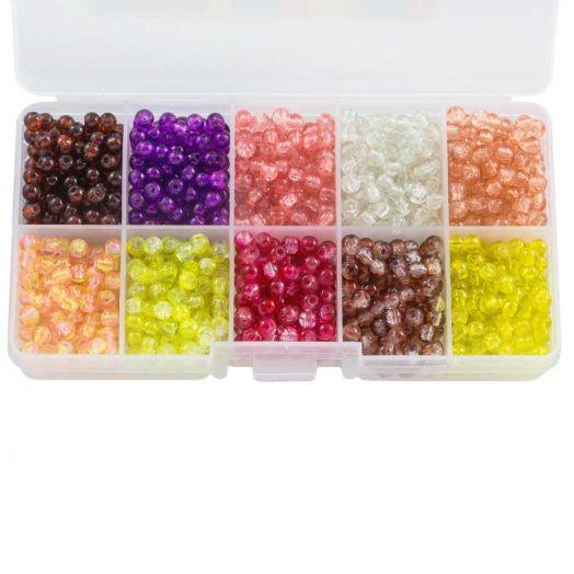 Voordeelpakket - Crackle Glaskralen (4 mm) Mix Color (1000 stuks)