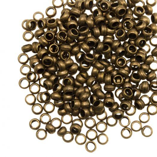 Knijpkralen (Binnenmaat 2.2 mm) Brons (100 Stuks)
