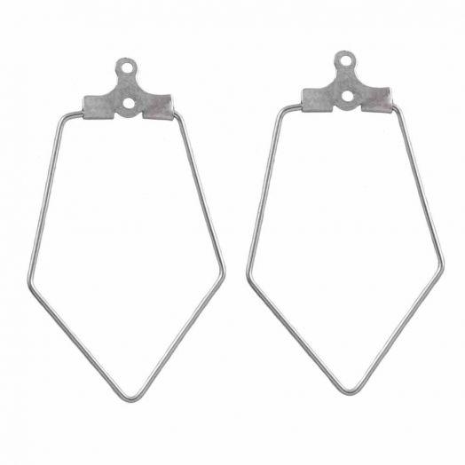 Stainless Steel Oorbel Frames  (35 x 22 mm) Antiek Zilver (6 Stuks)