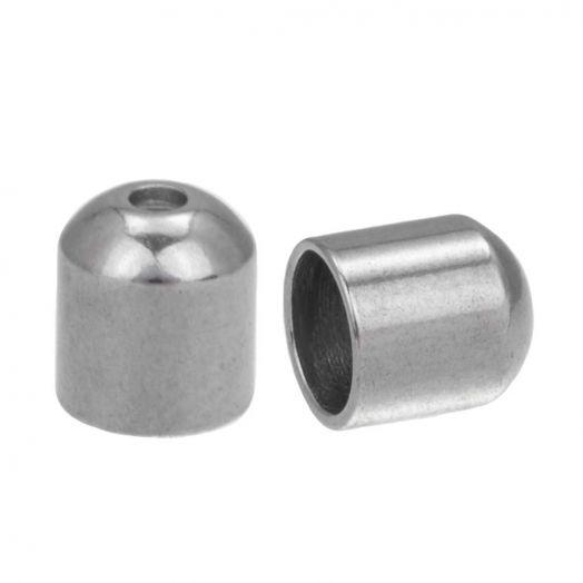 Stainless Steel Kapjes (Binnenmaat 5 mm - Gat 1 mm) Antiek Zilver (10 Stuks)