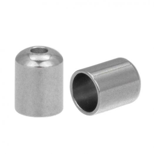 Stainless Steel Kapjes (Binnenmaat 4 mm - Gat 1 mm) Antiek Zilver (10 Stuks)