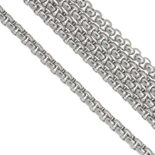 Stainless Steel Jasseron (2.5 x 2.5 mm) Antiek Zilver (2.5 Meter)