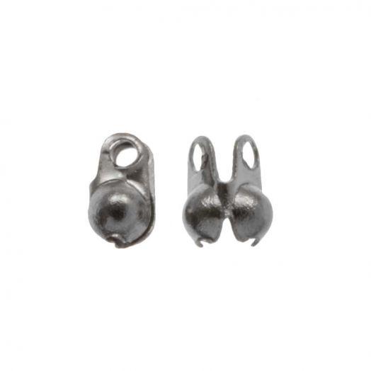 Stainless Steel Bolletjesketting Connector (1.5 mm) Antiek Zilver (25 Stuks)