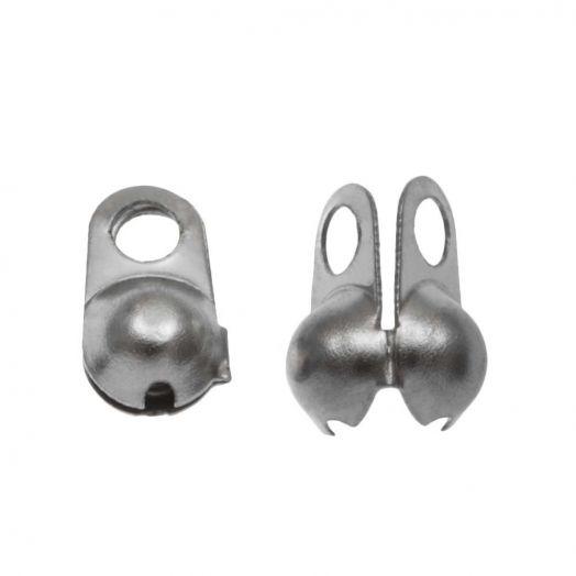 Stainless Steel Bolletjesketting Connector (3 mm) Antiek Zilver (25 Stuks)