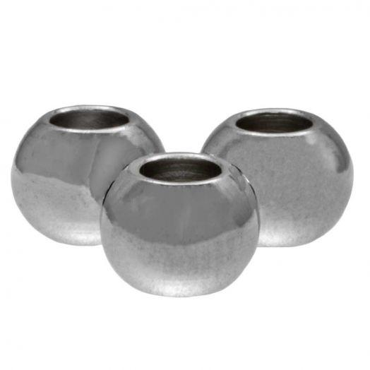 Stainless Steel Kralen (4 x 3 mm) Antiek Zilver (25 Stuks)