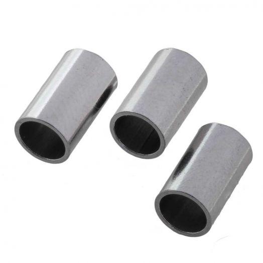 Stainless Steel Buisje (10 x 6 mm) Antiek Zilver (10 stuks)