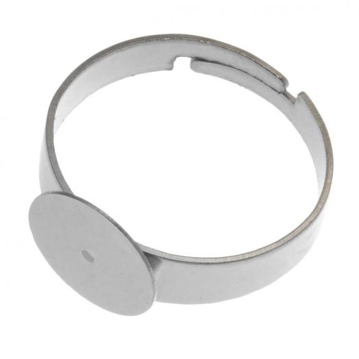 Stainless Steel Verstelbare Ring (Tray 10 mm) Zilver (5 Stuks)