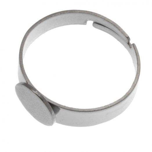 Stainless Steel Verstelbare Ring (Tray 8 mm) Zilver (5 Stuks)
