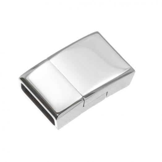 Stainless Steel Magneetslot (Binnenmaat 12 x 4 mm) Antiek Zilver (1 Stuk)