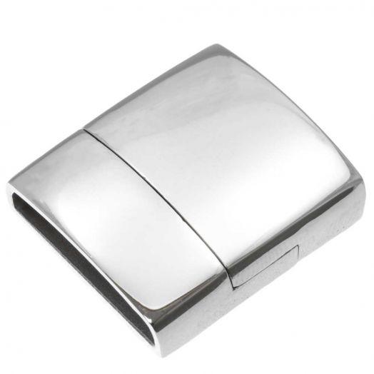 Stainless Steel Magneetslot (Binnenmaat 18.5 x 4 mm) Antiek Zilver (1 Stuk)