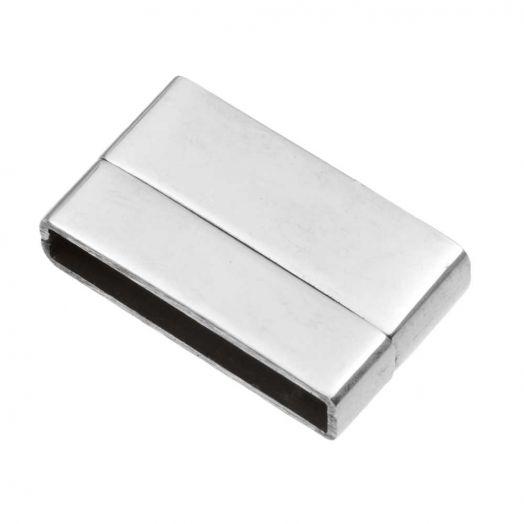 Stainless Steel Magneetslot (Binnenmaat 20 x 3 mm) Antiek Zilver (1 Stuk)