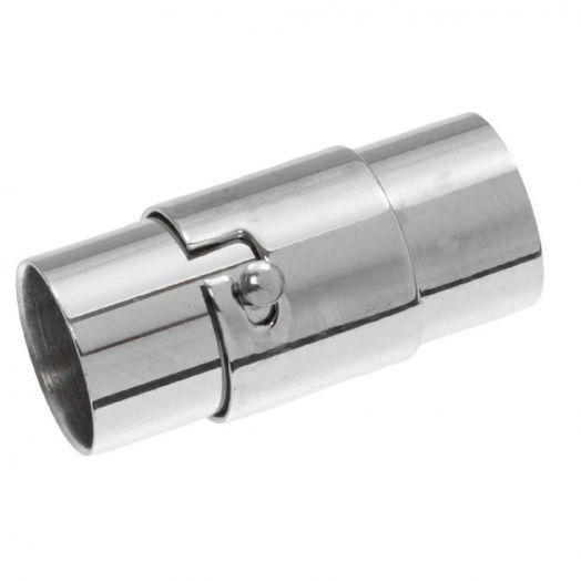 Stainless Steel Magneetslot (Binnenmaat 8 mm) Antiek Zilver (1 Stuk)