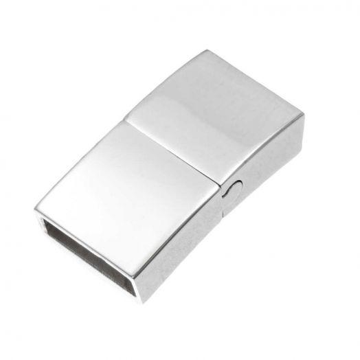 Stainless Steel Magneetslot (Binnenmaat 10 x 3 mm) Antiek Zilver (1 Stuk)