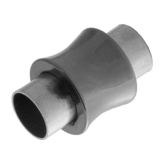 Stainless Steel Magneetslot (Binnenmaat 6 mm) Gunmetal (1 Stuk)