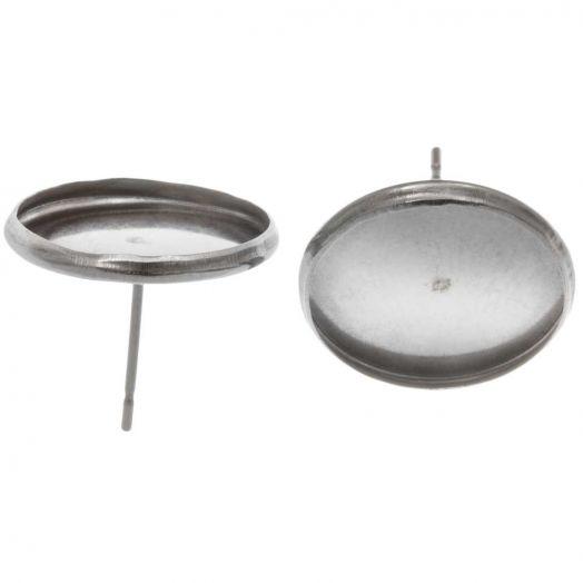 Stainless Steel Oorstekers (voor 14 mm cabochon) Antiek Zilver (20 Stuks)