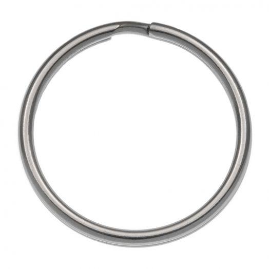 Stainless Steel Sleutelring (32 mm) Antiek Zilver (10 Stuks)