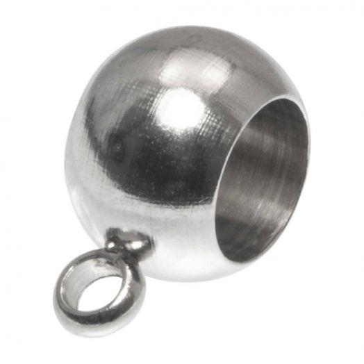 Stainless Steel Tussenstuk 1 Oog (Binnenmaat 4 mm) Antiek Zilver (10 Stuks)