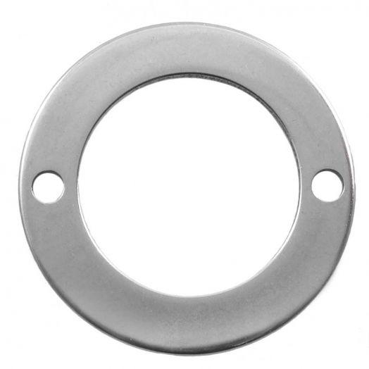 Stainless Steel Tussenstuk 2 Ogen (16 mm) Antiek Zilver (50 Stuks)