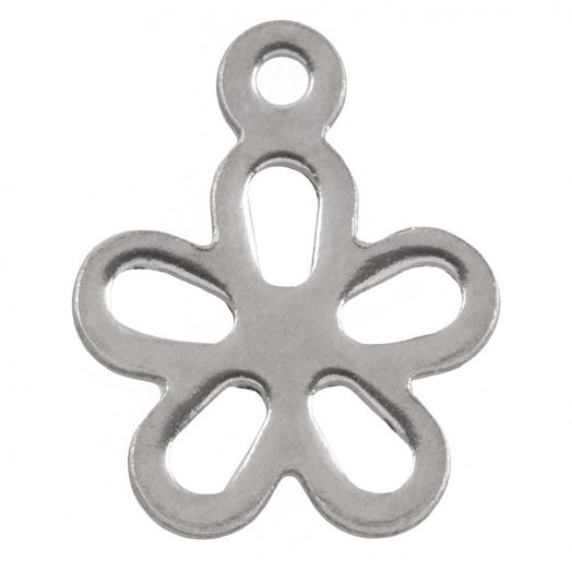 Stainless Steel Bedel Bloem (14 x 11.5 mm) Antiek Zilver (25 Stuks)