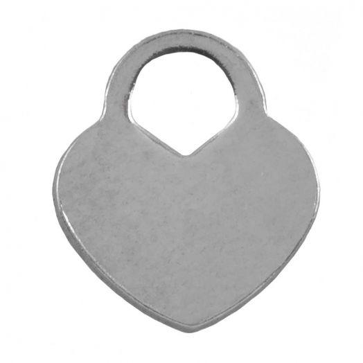 Stainless Steel Bedel Hartje (11 x 10 mm) Antiek Zilver (25 Stuks)