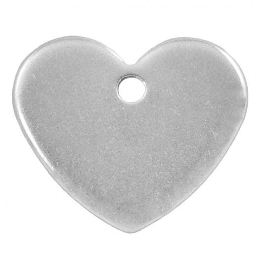 Stainless Steel Bedel Hartje (13 x 11 mm) Antiek Zilver (50 Stuks)