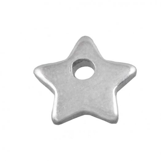 Stainless Steel Bedel Ster (6 x 6 mm) Antiek Zilver (50 Stuks)