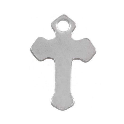Stainless Steel Bedel Kruis (12 x 8.5 mm) Antiek Zilver (50 Stuks)