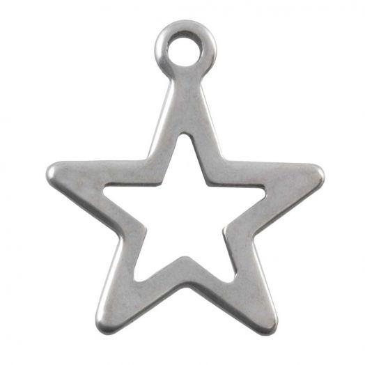 Stainless Steel Bedel Ster (14 x 12 mm) Antiek Zilver (50 Stuks)
