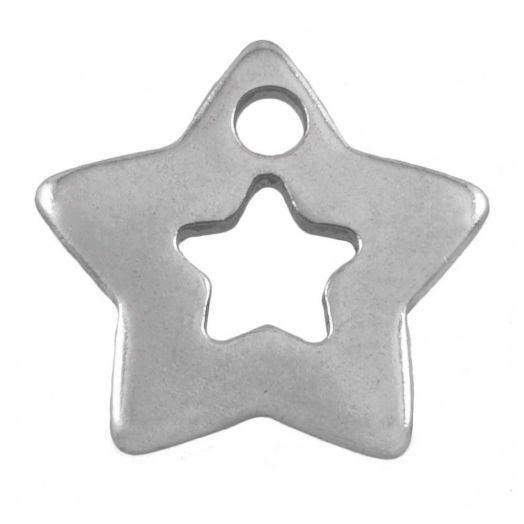 Stainless Steel Bedel Ster (11 x 11 mm) Antiek Zilver (50 Stuks)