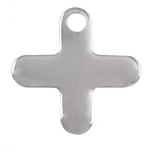 Stainless Steel Bedel Kruis (12 x 12 mm) Antiek Zilver (50 Stuks)