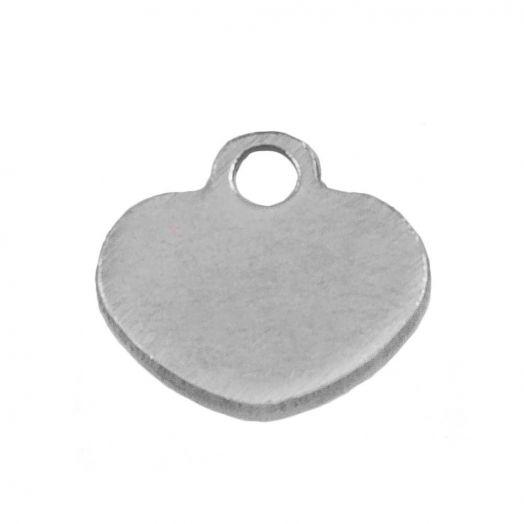 Stainless Steel Bedel Hartje (6 x 6 mm) Antiek Zilver (100 Stuks)