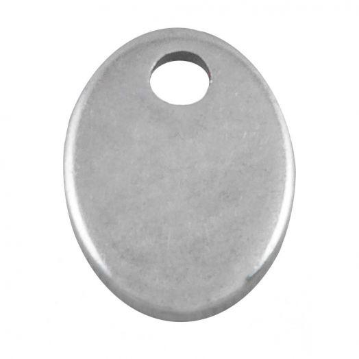 Stainless Steel Bedel (12 x 7 mm) Antiek Zilver (100 Stuks)
