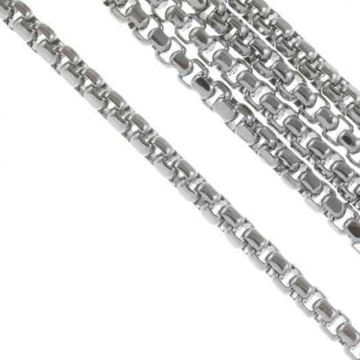 Stainless Steel Jasseron (2.5 x 1.5 mm) Antiek Zilver (2.5 Meter)